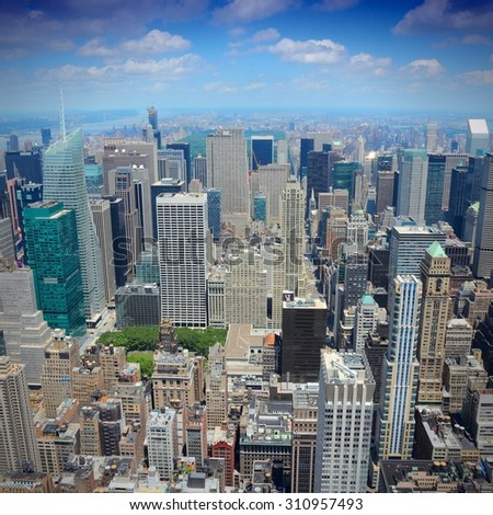 New York City, United States - Midtown Manhattan skyline aerial view. - stock photo