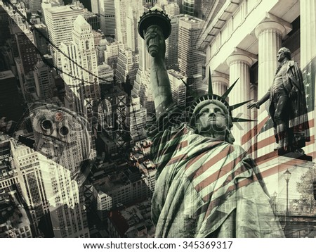 New York City, United States of America - Collage containing several New York landmarks and symbols - stock photo