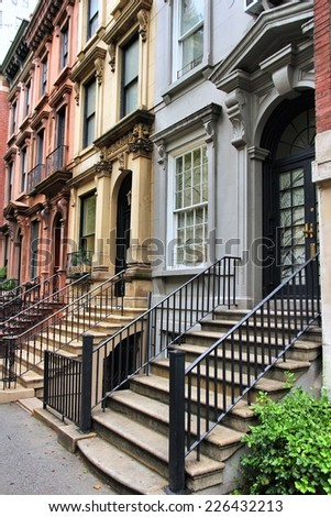 New York City, United States - old townhouses in Turtle Bay neighborhood in Midtown Manhattan. - stock photo