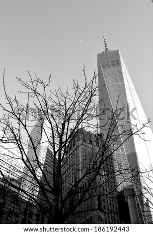 NEW YORK CITY, USA - April 5, 2014: Construction continues on World Trade Center Tower One as the landmark building nears completion in Lower Manhattan  - stock photo