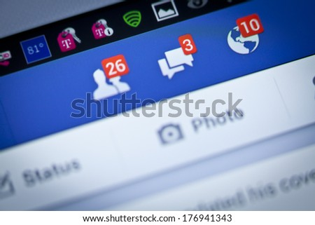 New York City, USA - August 25, 2013: Facebook notifications of friend request ,message and notification on a smart phone. Facebook is a social networking service, owned and operated by Facebook, Inc. - stock photo