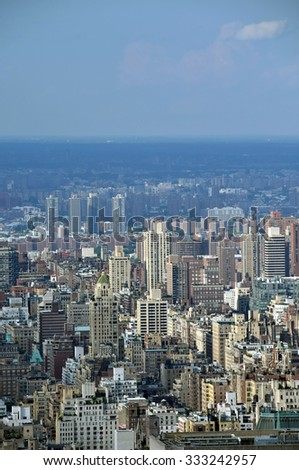 New York City, USA cityscape seen from a high point - stock photo