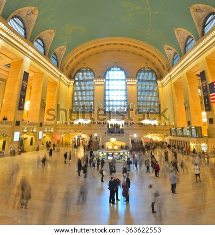 New York City, USA - December 04, 2015: The main concourse of the Grand Central Terminal in New York City.  - stock photo
