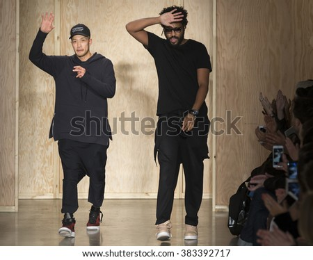 New York City, USA - February 17, 2016: Designers Dao-Yi Chow and Maxwell Osborne walks the runway during the DKNY Women's show as a part of Fall 2016 New York Fashion Week - stock photo