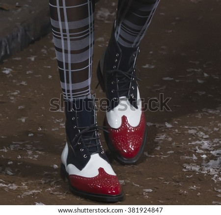New York City, USA - February 15, 2016: Shamone Edwards, details, walks the runway during the Thom Browne Women's show as a part of Fall 2016 New York Fashion Week - stock photo