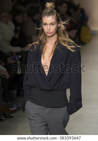 New York City, USA - February 17, 2016: Stella Maxwell walks the runway during the DKNY Women's show as a part of Fall 2016 New York Fashion Week at Skylight Modern - stock photo