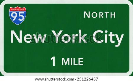 New York City USA Interstate Highway Sign - stock photo