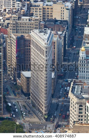 NEW YORK CITY , USA - JULY 07, 2015: Flatiron building facade. Completed on 1902, it is considered to be one of the first skyscrapers ever built. - stock photo