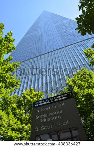 New York City, USA - June 11, 2016: Looking up at the landmark World Trade Center Tower One in Lower Manhattan in 2016 in New York City. - stock photo