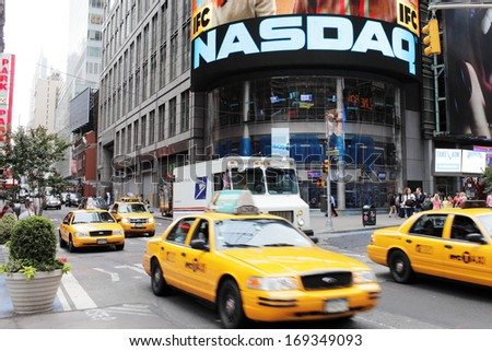NEW YORK CITY, USA - JUNE 12: NASDAQ building on Times Square. NASDAQ is an American stock exchange. June 12, 2012 in New York City, USA - stock photo
