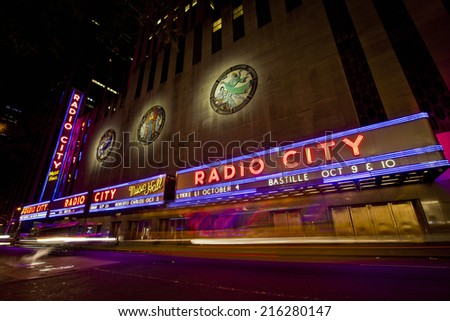 NEW YORK CITY, USA - JUNE 28, 2014: Radio City Music Hall in Rockefeller Center is home of the Rockettes and the famous Christmas Spectacular. - stock photo
