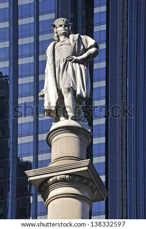 NEW YORK CITY, USA - MARCH 21: Statue of Christopher Columbus at Columbus Circle. The bustle of Columbus Circle in NYC seen on March 21, 2013. - stock photo