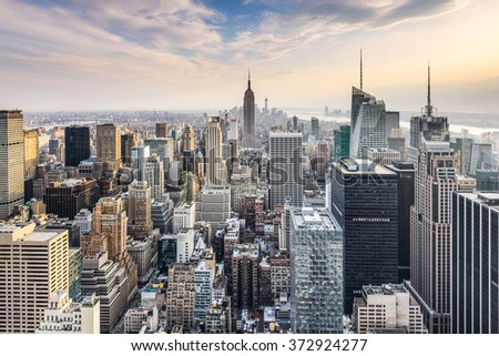 New York City, USA midtown Manhattan financial district skyline. - stock photo