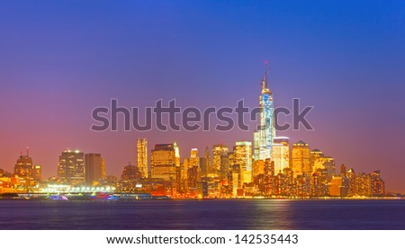 New York City, USA night cityscape panorama of the financial district - stock photo
