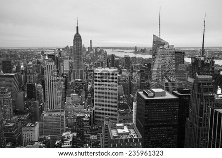New York City, USA - November 6: Aerial view of Manhattan in New York City, USA on November 6, 2014. - stock photo