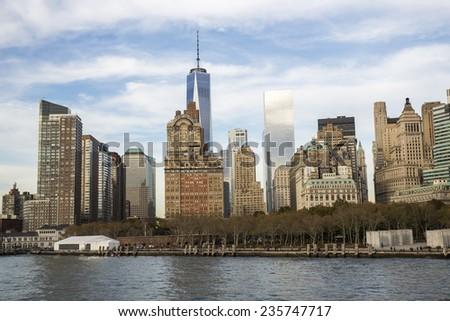 New York City, USA - November 4: View of Manhattan skyline in New York City, USA on November 4, 2014. - stock photo