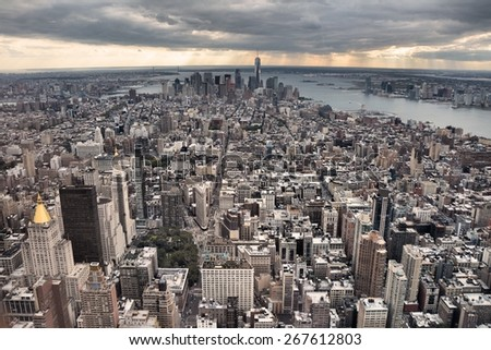 NEW YORK CITY, USA - OCTOBER 18, 2014: Manhattan Downtown skyline view. New York City is the cultural and financial capital of the world - stock photo