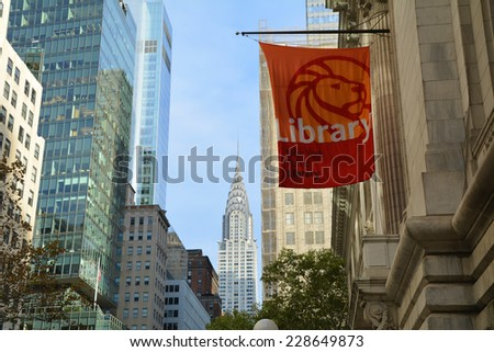 NEW YORK CITY, USA - OCTOBER 24, 2014: The main branch of New York Public Library in Manhattan. The NYPL is the second largest public library in the United States - stock photo