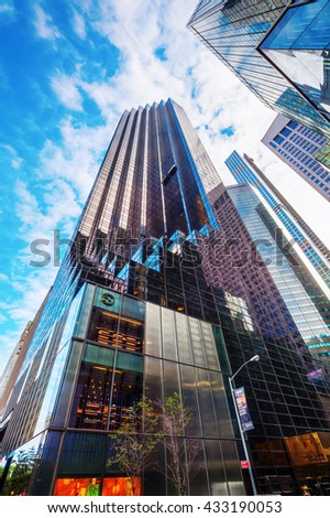 New York City, USA - October 07, 2016: Trump Tower at 5th Ave in Manhattan. It houses the primary penthouse condominium residence of Donald Trump and it is 58-story and 202 m high - stock photo