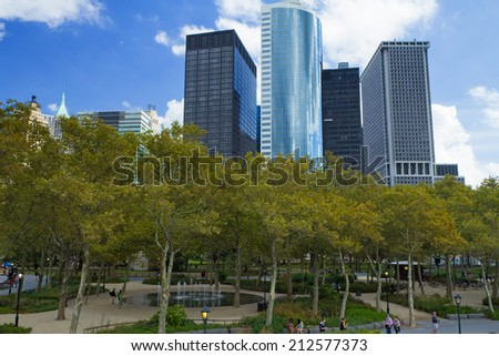 NEW YORK CITY, USA - SEPT 20, 2012: Battery Park is a 25-acre public park located at the Battery, the southern tip of Manhattan Island in NYC, facing New York Harbor.September 20, 2012 in NYC. - stock photo