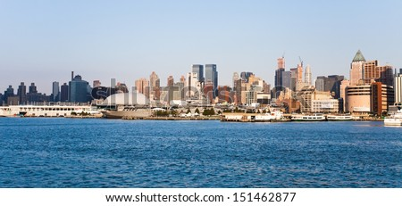 NEW YORK CITY, USA - SEPTEMBER 22:New York and Intrepid Sea, Air and Space Museum on September 22, 2012. It is one of Americas leading educational institutions  and is centered on the aircraft carrier - stock photo