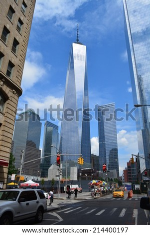 New York City, USA - September 1, 2014: View of the nearly completed World Trade Center Tower One and Tower Seven at Ground Zero in New York City.  - stock photo
