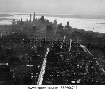 New York City, view south of lower New York skyline from the Empire State Building. Ca. 1931 - stock photo