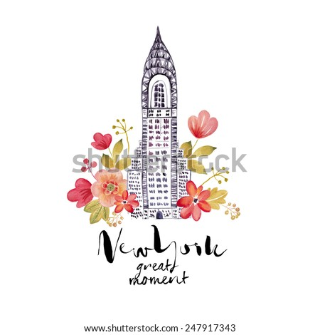 New York City watercolor illustration ( NYC great moment) - stock photo