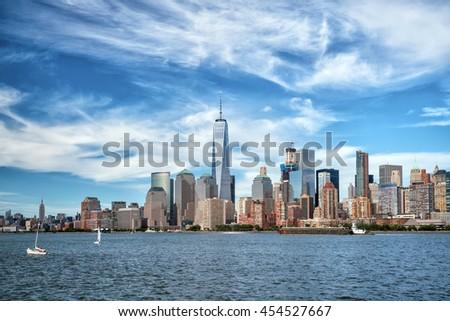 New York City with Manhattan skyline from Hudson River - stock photo