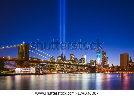 New York City with September 11 Tribute in Light Memorial. - stock photo
