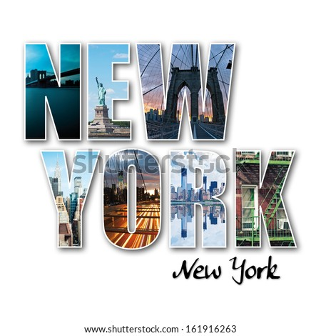 New York collage of different famous locations of the Big Apple.  - stock photo
