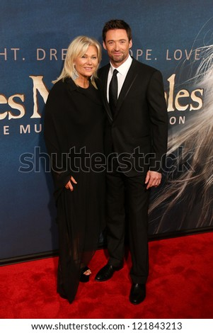 "NEW YORK-DEC 10: Actor Hugh Jackman and wife, Deborra-Lee Furness attend the premiere of ""Les Miserables"" at the Ziegfeld Theatre on December 10, 2012 in New York City. - stock photo"
