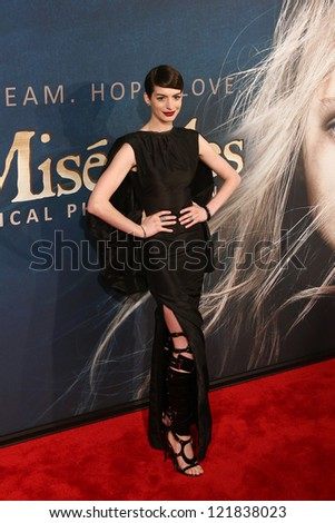 """NEW YORK-DEC 10: Actress Anne Hathaway attends the premiere of """"Les Miserables"""" at the Ziegfeld Theatre on December 10, 2012 in New York City. - stock photo"""