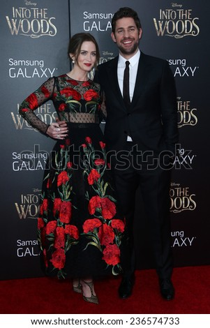 "NEW YORK-DEC 8: Actress Emily Blunt (L) and John Krasinski attend the ""Into The Woods"" premiere at the Ziegfeld Theatre on December 8, 2014 in New York City. - stock photo"