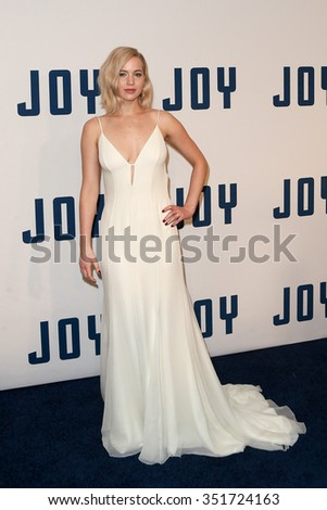 "NEW YORK-DEC 13: Actress Jennifer Lawrence attends the ""Joy"" premiere at the Ziegfeld Theatre on December 13, 2015 in New York City. - stock photo"