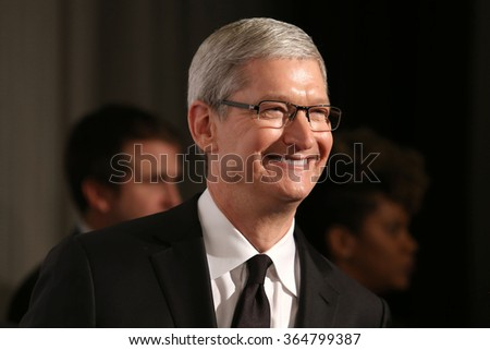 NEW YORK - DEC 8, 2015: Apple CEO, Tim Cook, attends the 2015 Ripple Of Hope Awards at the Hilton Hotel on December 8, 2015, in New York. - stock photo