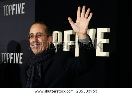 "NEW YORK-DEC 3: Comedian Jerry Seinfeld attends the ""Top Five"" premiere at the Ziegfeld Theatre on December 3, 2014 in New York City. - stock photo"