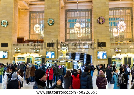 NEW YORK - DEC 25 : Grand central terminal station pictured on December 25, 2010 in New York (USA). Opened in 1871, It is the largest train station in the world by number of platforms (44 platforms). - stock photo