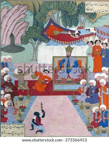NEW YORK - DEC 16, 2015 -Iskandar relaxing in his camp, Persian miniature from the Shahnamah - stock photo