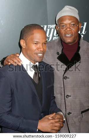 """NEW YORK - Dec 11: Jamie Foxx and Samuel L. Jackson attend the premiere of """"Django Unchained"""" at the Ziegfeld Theatre on December 11, 2012 in New York City.  - stock photo"""