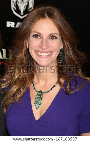 "NEW YORK - DEC 12:  Julia Roberts attends the premiere of ""August: Osage County"" at the Ziegfeld Theater on December 12, 2013 in New York City. - stock photo"