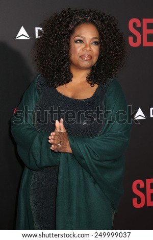 """NEW YORK - DEC 14, 2014: Oprah Winfrey attends the premiere of """"Selma"""" at the Ziegfeld Theatre on December 14, 2014 in New York City. - stock photo"""