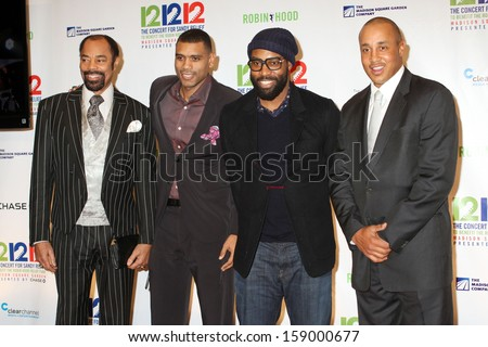 NEW YORK - Dec 12: Walt Clyde Frazier, Allen Houston, Baron Davis, and John Starks attend the 12-12-12 concert at Madison Square Garden on December 12, 2012 in New York City.  - stock photo