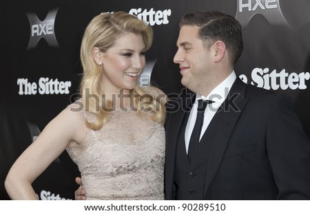 NEW YORK - DECEMBER 06: Actor Jonah Hill & actress Ari Graynor attend 'The Sitter' premiere at Chelsea Clearview Cinemas on December 6, 2011 in New York City - stock photo