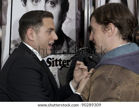 NEW YORK - DECEMBER 06: Actor Jonah Hill & director David Gordon Green attend 'The Sitter' premiere at Chelsea Clearview Cinemas on December 6, 2011 in New York City - stock photo