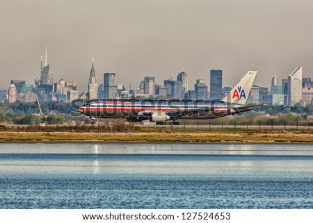 NEW YORK - DECEMBER 6: Boeing 767 American Airline lining up on JFK runway in New York USA on December 6, 2012. American Airline is one of the biggest and oldest airline in the world - stock photo