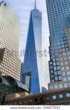 NEW YORK - DECEMBER 01: Freedom Tower in Lower Manhattan on December 01, 2013. One World Trade Center is the tallest building in the Western Hemisphere and the third-tallest building in the world - stock photo