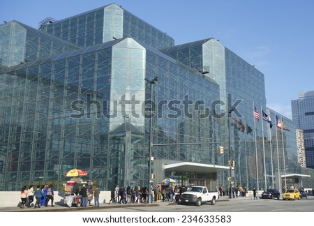 NEW YORK - DECEMBER 1: Javits Convention Center in Manhattan on December 1, 2014. The convention center has a total area space of 1,800, 000 square ft and has 840,000 square ft of total exhibit space  - stock photo