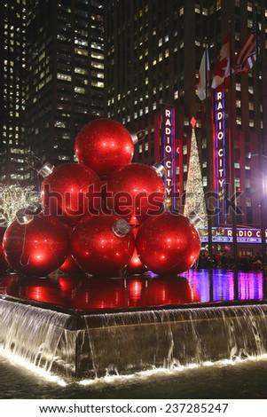 NEW YORK - DECEMBER 19: New York City landmark, Radio City Music Hall in Rockefeller Center decorated with Christmas decorations in Midtown Manhattan on December 19, 2013 - stock photo
