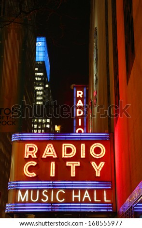 NEW YORK - DECEMBER 19:  New York City landmark, Radio City Music Hall in Rockefeller Center on December 19, 2013. The Radio City Christmas Spectacular is a New York Christmas tradition since 1933 - stock photo